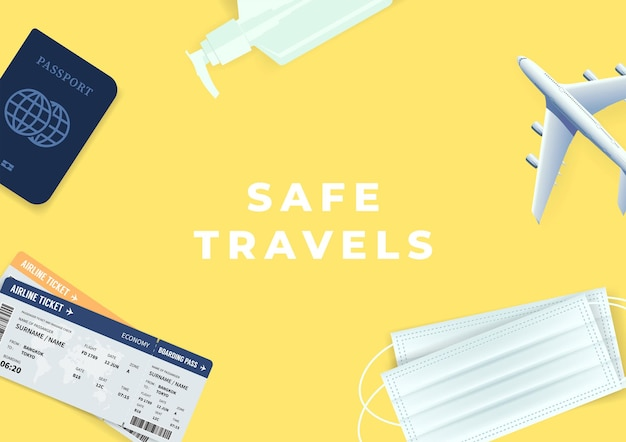 여권, 티켓, 알코올 젤 및 마스크는 노란색 배경으로 여행으로 돌아갑니다. 관광 휴가에 안전한 여행.