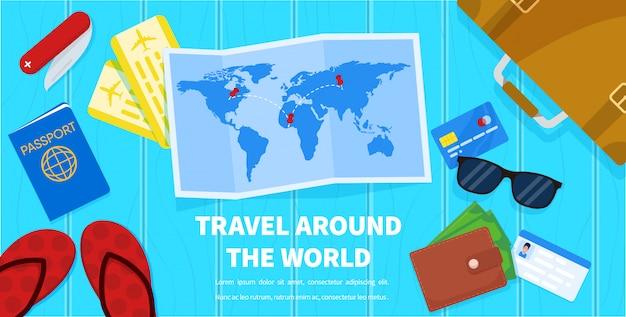 地図と観光用アクセサリーpassport ticket wallet