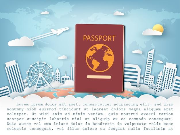 세계 개념 주위에 여권 여행.