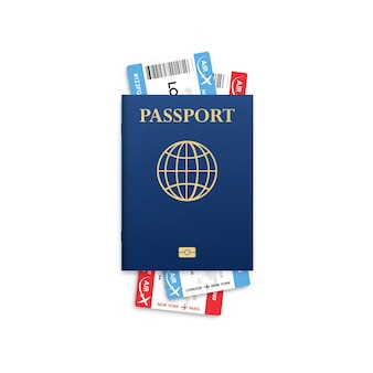 Passport . travel . citizenship id for travel. airplane boarding pass isolated on white.