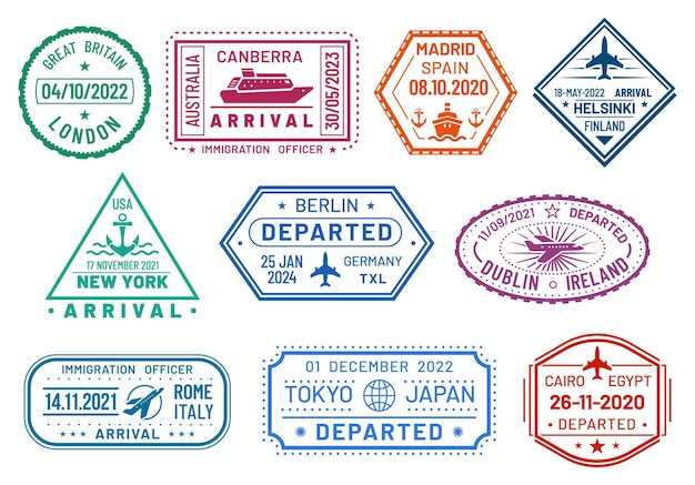 Passport visa stamps, immigration border control, airport arrival and departure. passport stamps to germany berlin, usa new york, japan tokyo and canberra australia, madrid spain and uk london