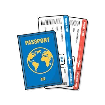 飛行機のチケットのイラストとパスポート。休日と職業の概念フラット