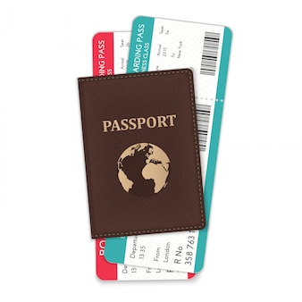 Passport with flight boarding passes