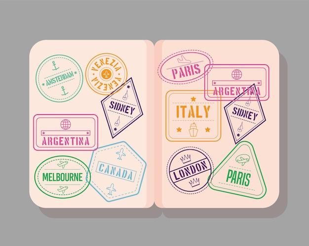 국제 우표가 있는 여권