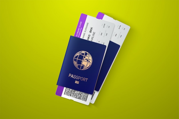 Passport with tickets. air travel concept. flat design citizenship id for traveler isolated. blue international document