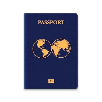 Passport with world map.