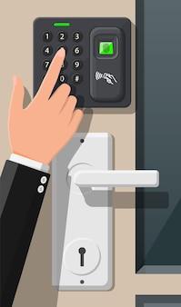 사무실이나 집 문에 있는 암호 및 지문 보안 장치. 출입 통제 기계 또는 출석 시간. 근접 카드 리더기. 평면 스타일의 벡터 일러스트 레이 션