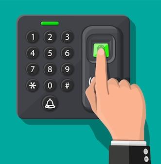 사무실 또는 집 문에서 암호 및 지문 보안 장치. 출입 통제 기계 또는 출석 시간. 근접 식 카드 리더.