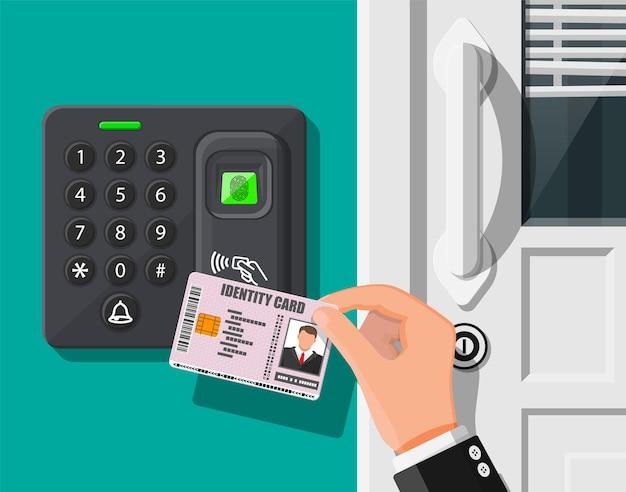 Устройство защиты паролем и отпечатком пальца на двери офиса или дома. рука с удостоверением личности. машина контроля доступа или время посещаемости. считыватель бесконтактных карт. векторная иллюстрация в плоском стиле