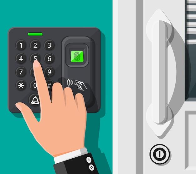 사무실 또는 집 문에서 암호 및 지문 보안 장치