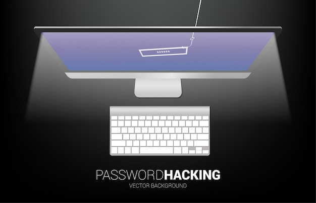 Password hacking with fishing hook from computer. concept of click bait and digital phishing.