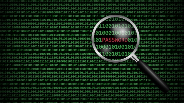 Password under magnifying glass with digital computer code, cyber technology security