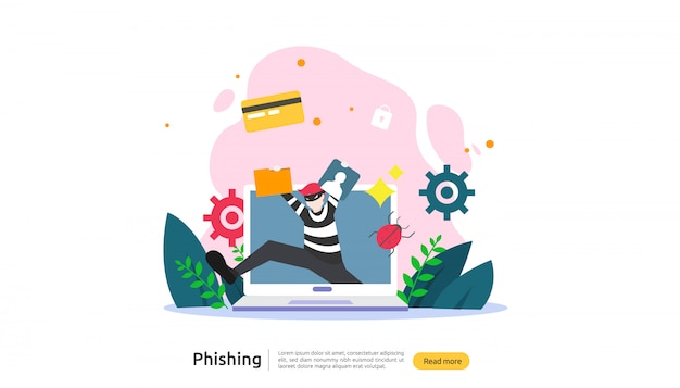 Password phishing attack concept landing page template