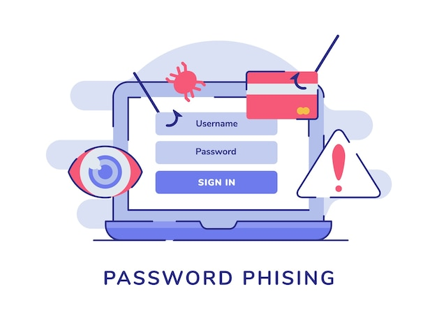 Password phising on display laptop screen white isolated background