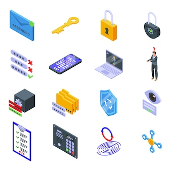 Password recovery icons set. isometric set of password recovery  icons for web  isolated on white background