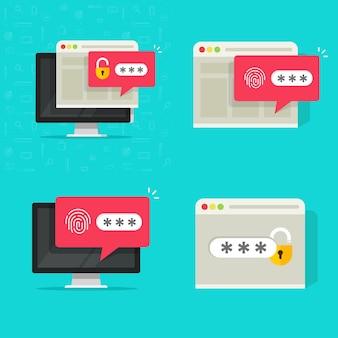コンピューターのpcのベクトルアイコンでロック解除およびロックされたウェブサイトへのアクセスでパスワードの安全な認証