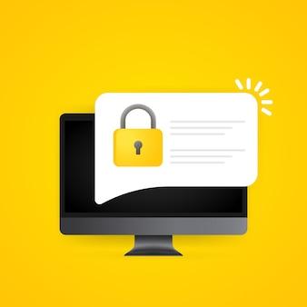 컴퓨터 화면에 암호 보안 액세스 푸시 알림. 인증을 위해 pc 화면에 인증 코드 알림. 개인 인증 기호입니다. 격리 된 배경에 벡터입니다. eps 10.