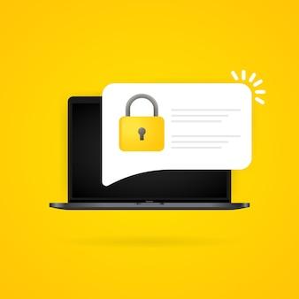 ラップトップでのパスワードセキュリティアクセスプッシュ通知。認証のためのpc画面上の検証コード通知。プライベート認証シンボル。孤立した背景上のベクトル。 eps10。