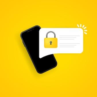 비밀번호 보안 접근 푸시 알림 onsmartphone. 인증을 위해 pc 화면에 인증 코드 알림. 개인 인증 기호입니다. 격리 된 배경에 벡터입니다. eps 10.