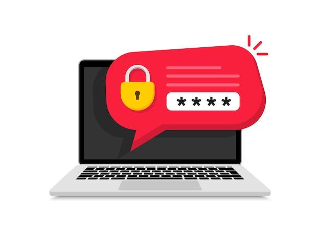 ラップトップのパスワードセキュリティ通知ロック付き検証コード通知