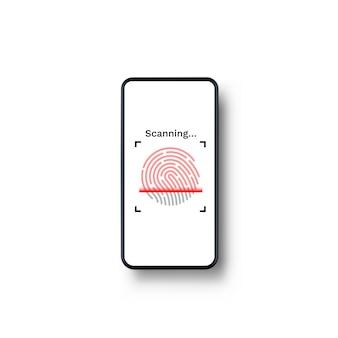Пароль touch id телефон на белом фоне. векторная иллюстрация