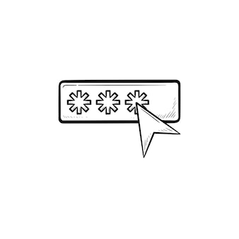 커서 손으로 그린 개요 낙서 아이콘이 있는 암호. 보안, 사용자 권한 부여, 안전 액세스 개념. 인쇄, 웹, 모바일 및 흰색 배경에 인포 그래픽에 대한 벡터 스케치 그림.