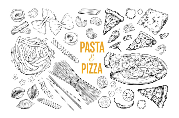 Паста и пицца итальянской кухни, изолированные на белом фоне