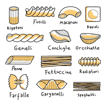 Pasta collection in line doodle illustration