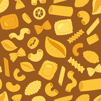 イタリアのシームレスなパターン背景の伝統的な料理のパスタ料理マカロニとスパゲッティとイタリア料理イラストセットの食材