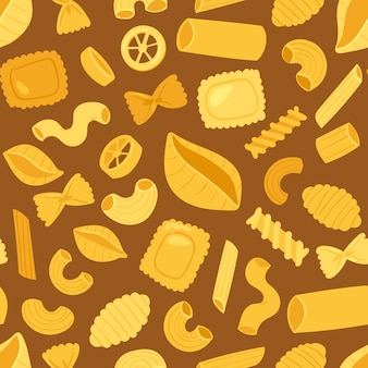 Pasta  cooking macaroni and spaghetti and ingredients of italian cuisine illustration set of traditional food in italy seamless pattern background