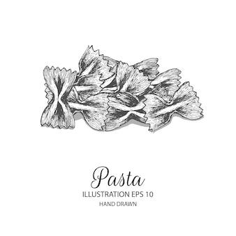 パスタfarfalle手描きのイラスト。分離されたベクトル要素の設計