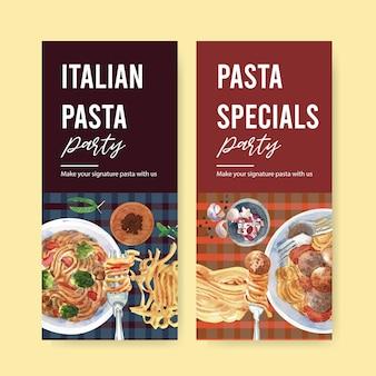 Pasta flyer design with pasta, pepper, fork watercolor illustration.