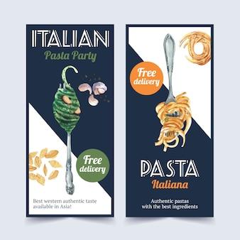 Pasta flyer design with spaghetti, fork watercolor illustration.