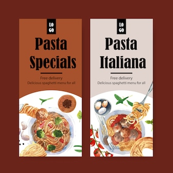 Pasta flyer design with various pasta watercolor illustration.