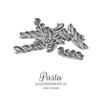 パスタfusilli手描きのイラスト