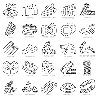 Pasta icon set. outline set of pasta vector icons