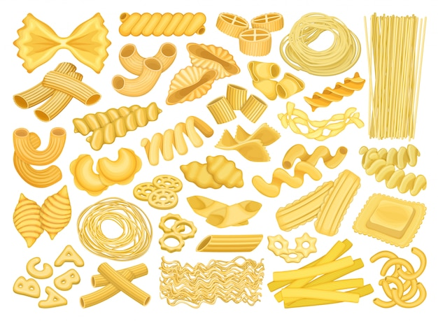 Паста изолированных мультфильм установить значок. итальянские макароны на белом фоне. мультфильм установить значок макароны.