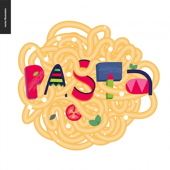 Pasta in the lettering