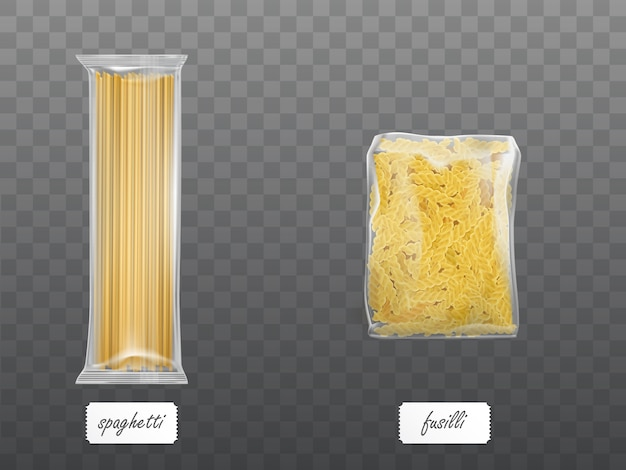 Pasta in limpid package set dry macaroni spaghetti
