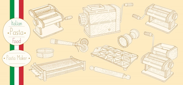 Pasta maker equipment for cooking italian food