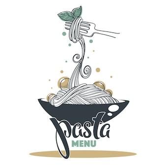 파스타 메뉴, yout 로고, 엠블럼, 라벨에 대한 글자 구성으로 손으로 그린 스케치