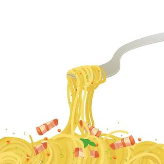 Pasta noodle menu vector