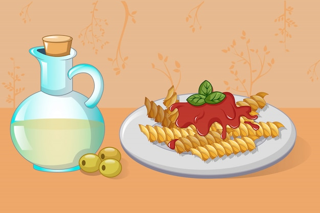 Pasta and olive oil concept, cartoon style