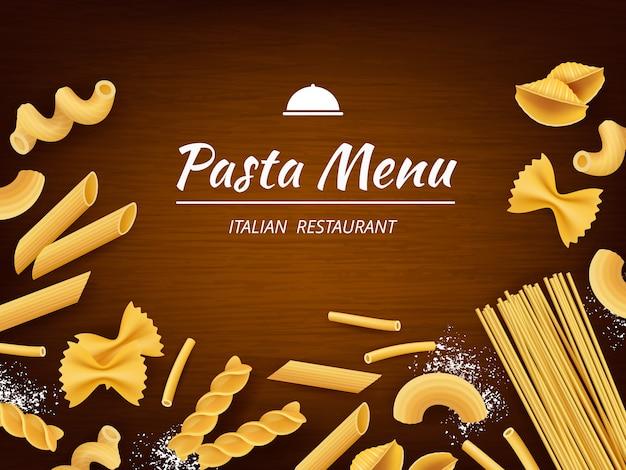 テーブルの上のパスタ。現実的な背景を調理するための白い小麦粉とイタリアの伝統的な食べ物マカロニスパゲッティフジッリ