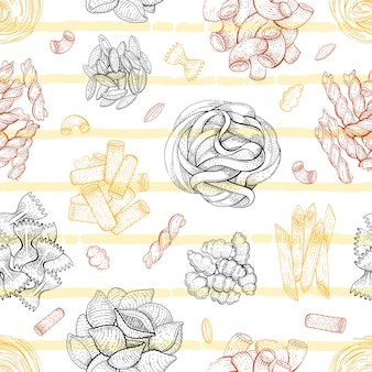 Pasta pattern. italian food seamless background. macaroni sketch doodle illustration. vintage drawing from italy. outline pasta icon art. fettuccine fusilli gobetti  malloreddus capellini penne