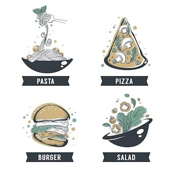 パスタ、ピザ、サラダ、ハンバーガー、youtのロゴ、エンブレム、ラベルのレタリング構成の手描きスケッチ