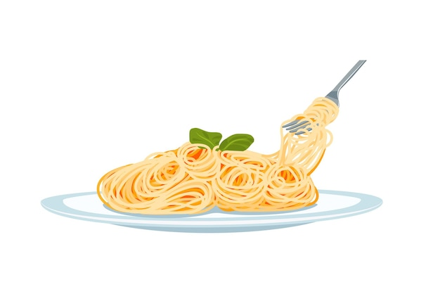 Pasta on a plate with fork