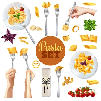Pasta realistic set
