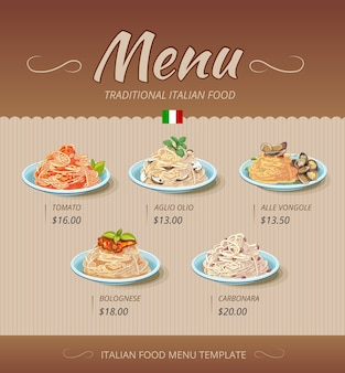 Pasta restaurant menu with dishes and prices
