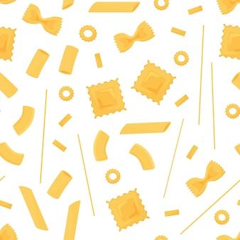 パスタのシームレスなパターン。さまざまな種類のイタリアンパスタ。スパゲッティ、ラビオリ、ペンネ、ファルファッレ、ヌードルマカロン